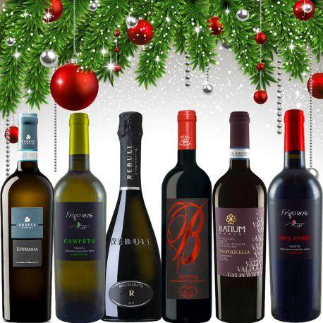 Confezione regalo Natale con 6 bottiglie selezionate di vini Rossi e Bianchi